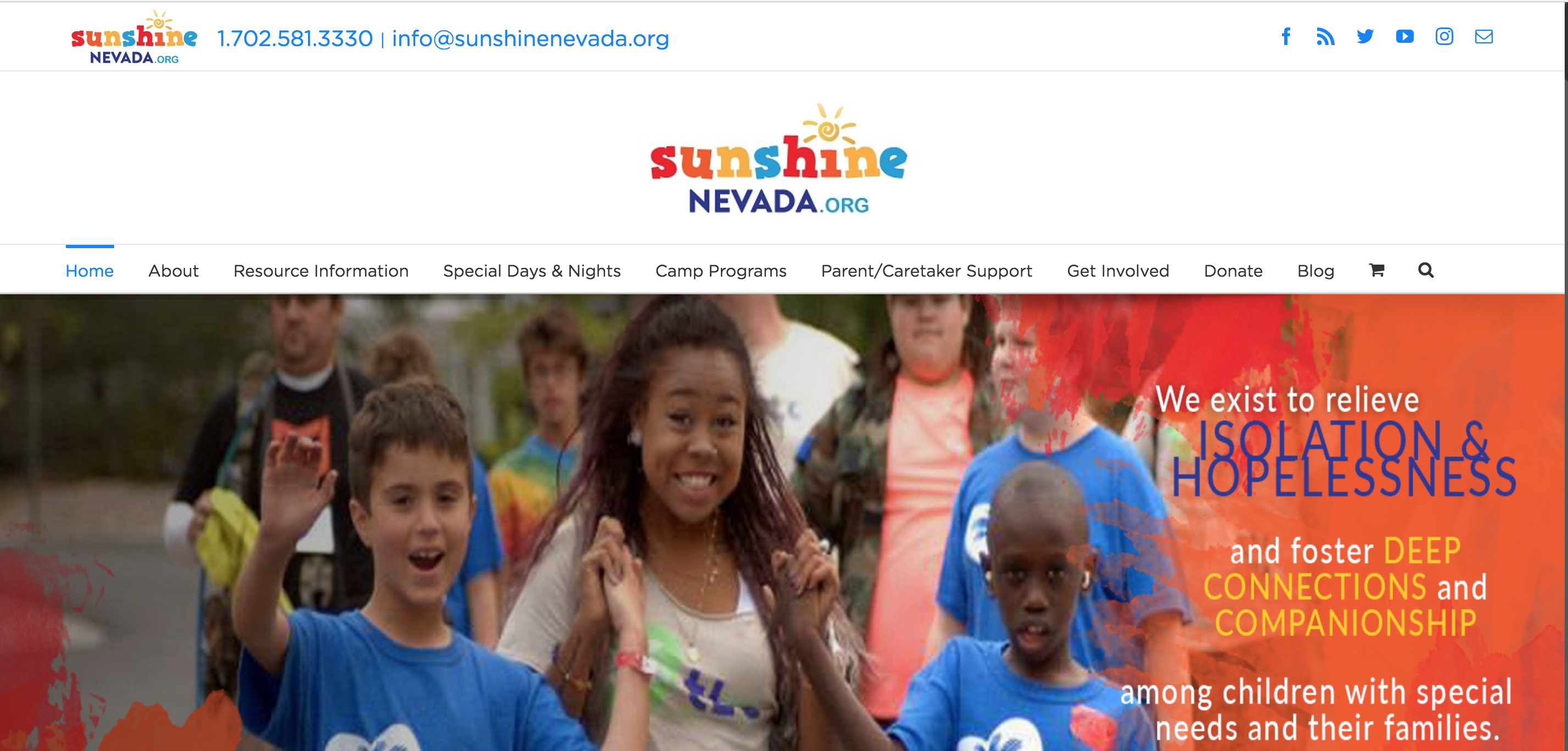Sunshine Nevada Organization Home Page website image
