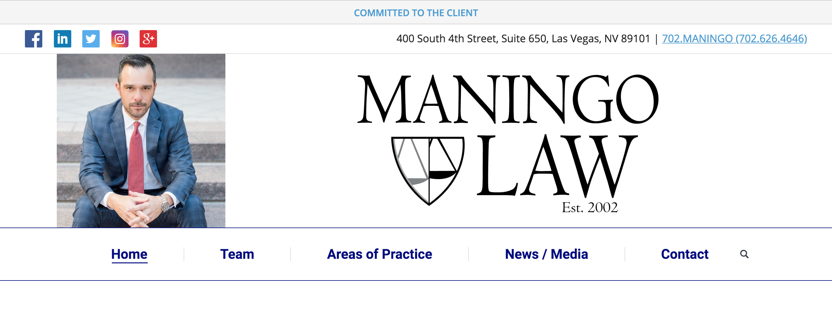 Maningo Law Website Home Page