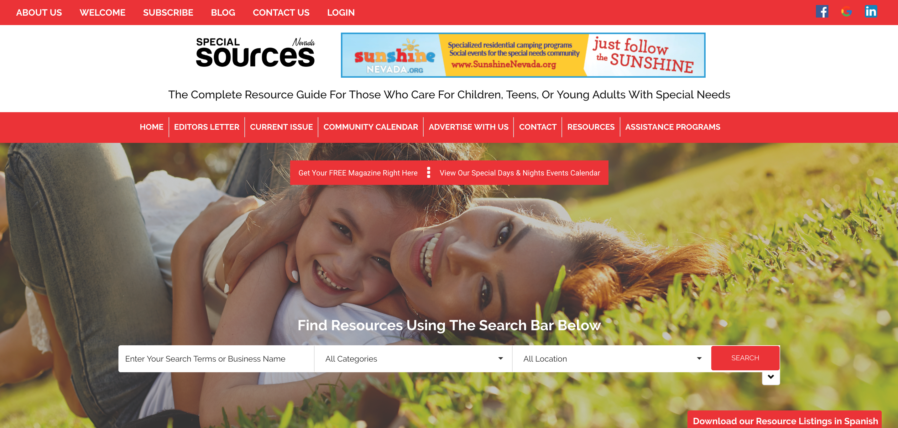 Special Sources Website Home Page