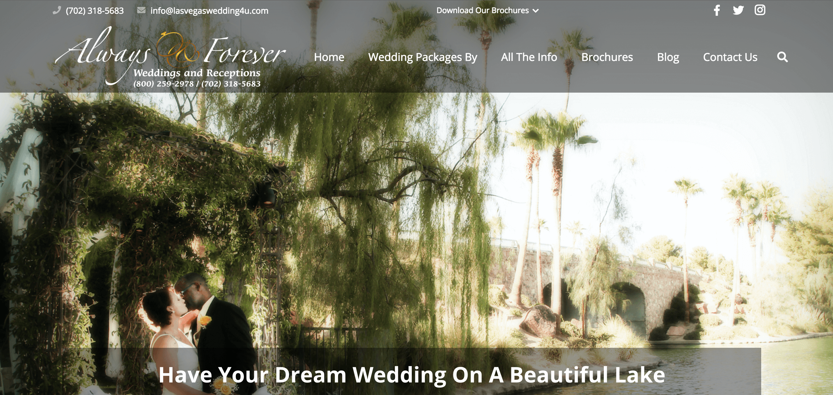 Always & Forever Weddings Website Home Page